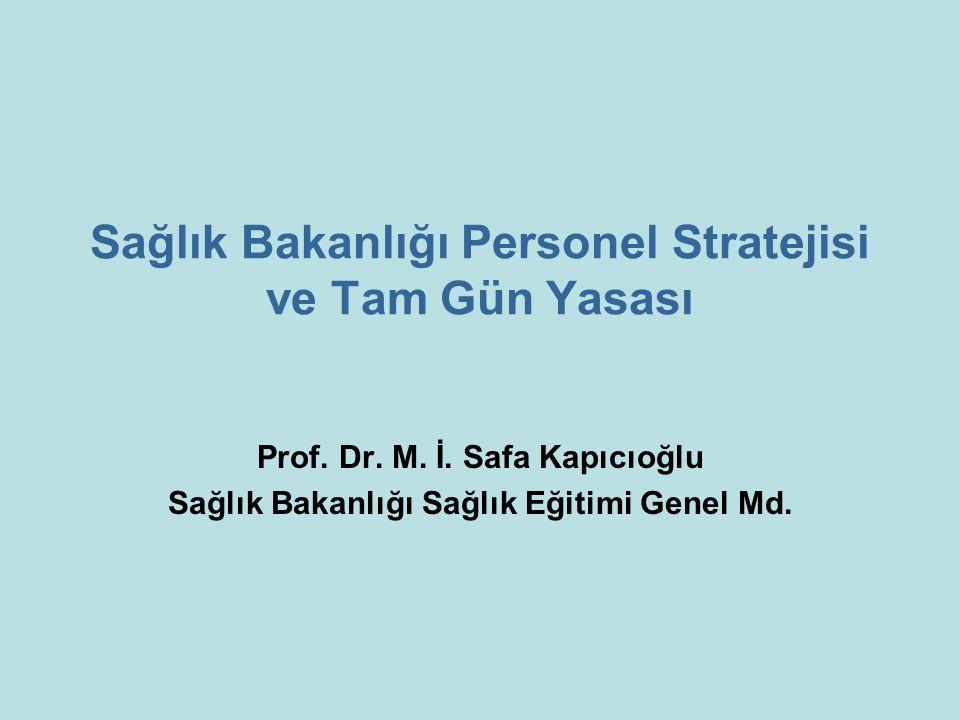 Sağlık Bakanlığı Personel Stratejisi ve Tam Gün Yasası Prof. Dr. M. İ. Safa Kapıcıoğlu Sağlık Bakanlığı Sağlık Eğitimi Genel Md.