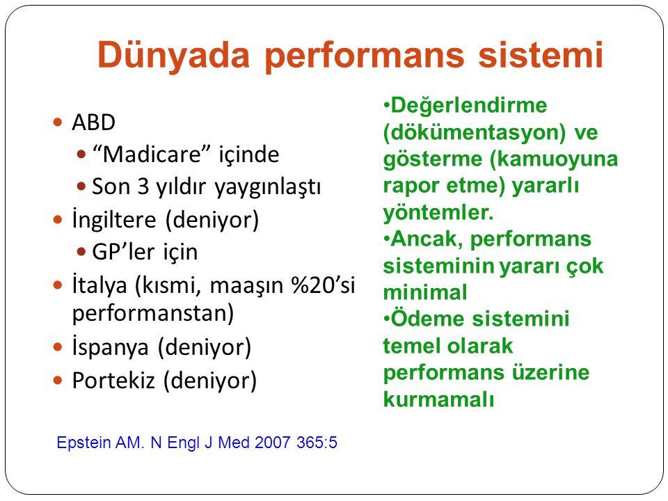 Dünyada performans sistemi ABD Madicare içinde Son 3 yıldır yaygınlaştı İngiltere (deniyor) GP'ler için İtalya (kısmi, maaşın %20'si performanstan) İspanya (deniyor) Portekiz (deniyor) Epstein AM.