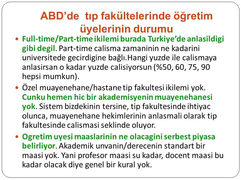 ABD'de tıp fakültelerinde öğretim üyelerinin durumu Full-time/Part-time ikilemi burada Turkiye'de anlasildigi gibi degil. Part-time calisma zamaninin