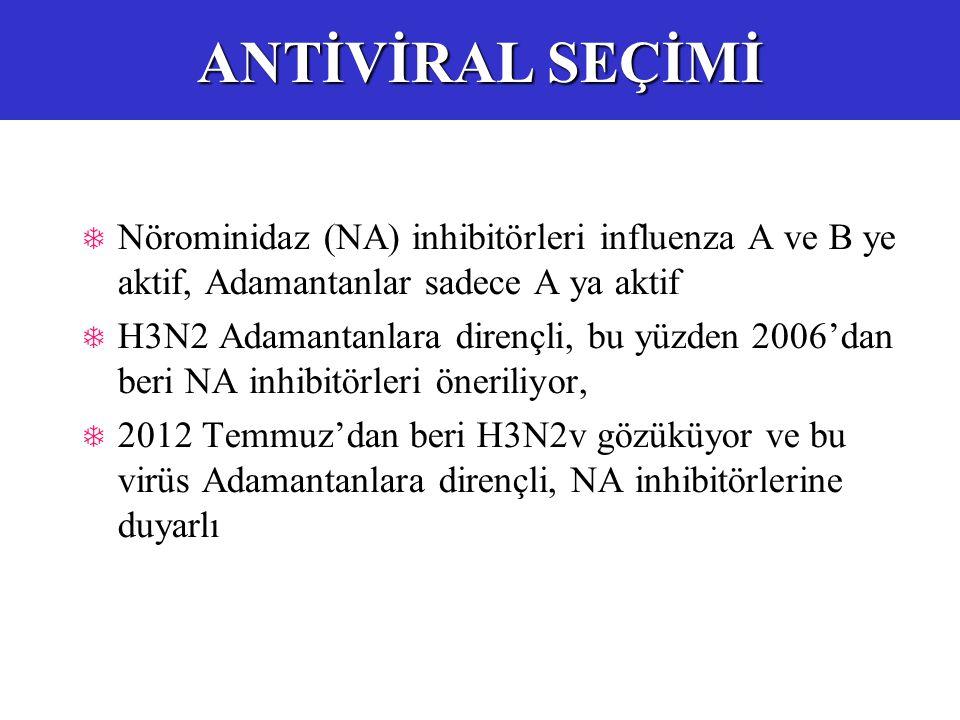  Nörominidaz (NA) inhibitörleri influenza A ve B ye aktif, Adamantanlar sadece A ya aktif  H3N2 Adamantanlara dirençli, bu yüzden 2006'dan beri NA inhibitörleri öneriliyor,  2012 Temmuz'dan beri H3N2v gözüküyor ve bu virüs Adamantanlara dirençli, NA inhibitörlerine duyarlı ANTİVİRAL SEÇİMİ
