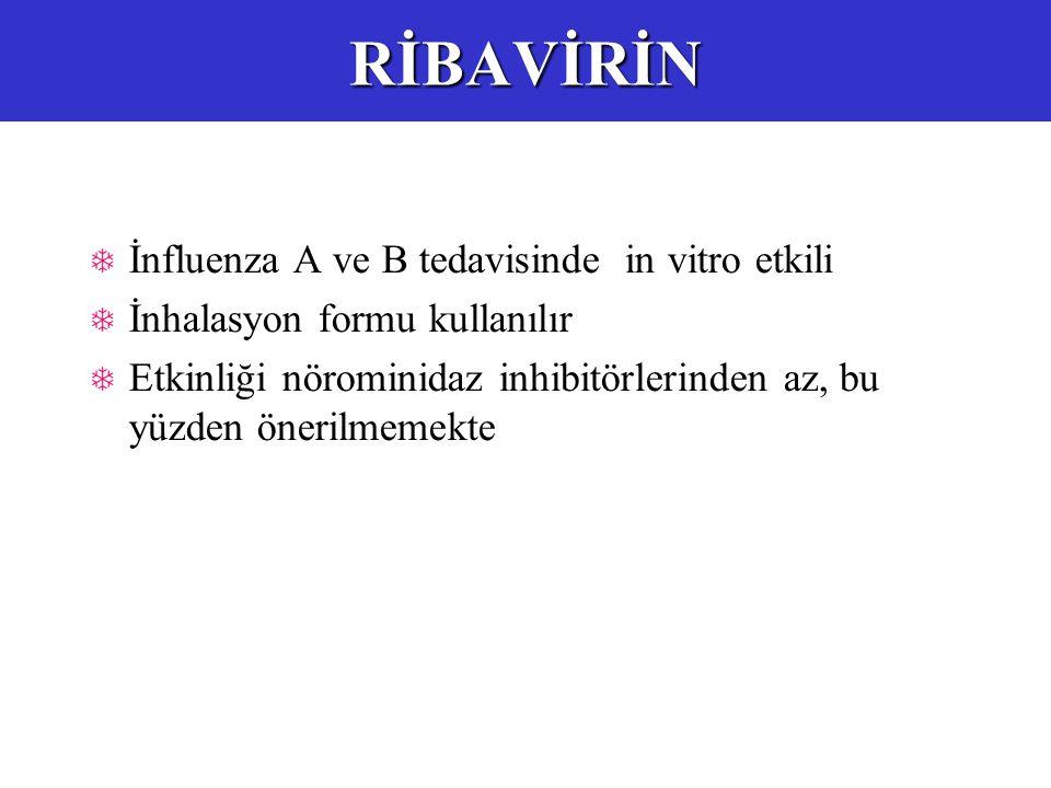  İnfluenza A ve B tedavisinde in vitro etkili  İnhalasyon formu kullanılır  Etkinliği nörominidaz inhibitörlerinden az, bu yüzden önerilmemekteRİBAVİRİN