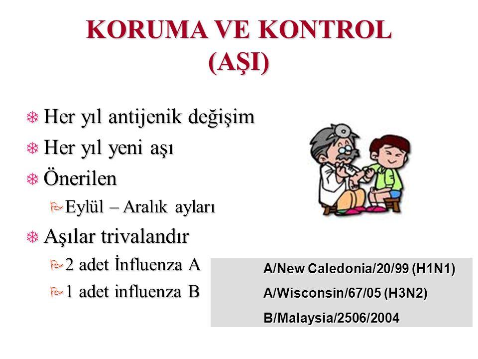 KORUMA VE KONTROL (AŞI)  Her yıl antijenik değişim  Her yıl yeni aşı  Önerilen  Eylül – Aralık ayları  Aşılar trivalandır  2 adet İnfluenza A  1 adet influenza B A/New Caledonia/20/99 (H1N1) A/Wisconsin/67/05 (H3N2) B/Malaysia/2506/2004