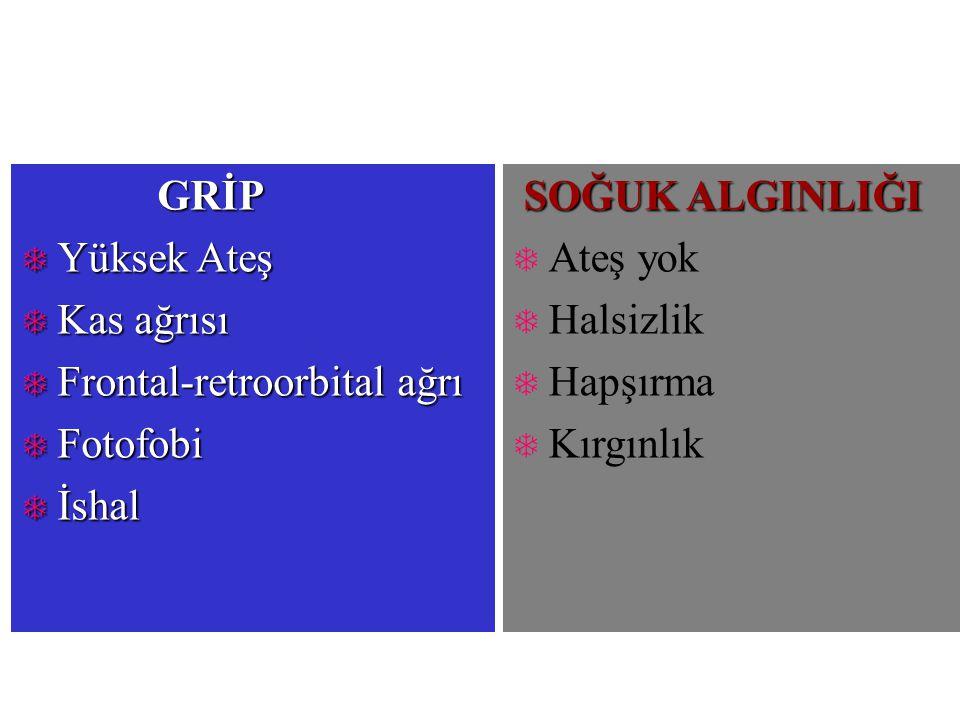 TEDAVİ  Destek (Palyatif) tedavi  Komplike olmamış vakalarda  Antiviral tedavi  Amantadin (Symmetrel)  Rimantadin (Flumadine)  Zanamivir (Relenza)  Oseltamivir (Tamiflu)