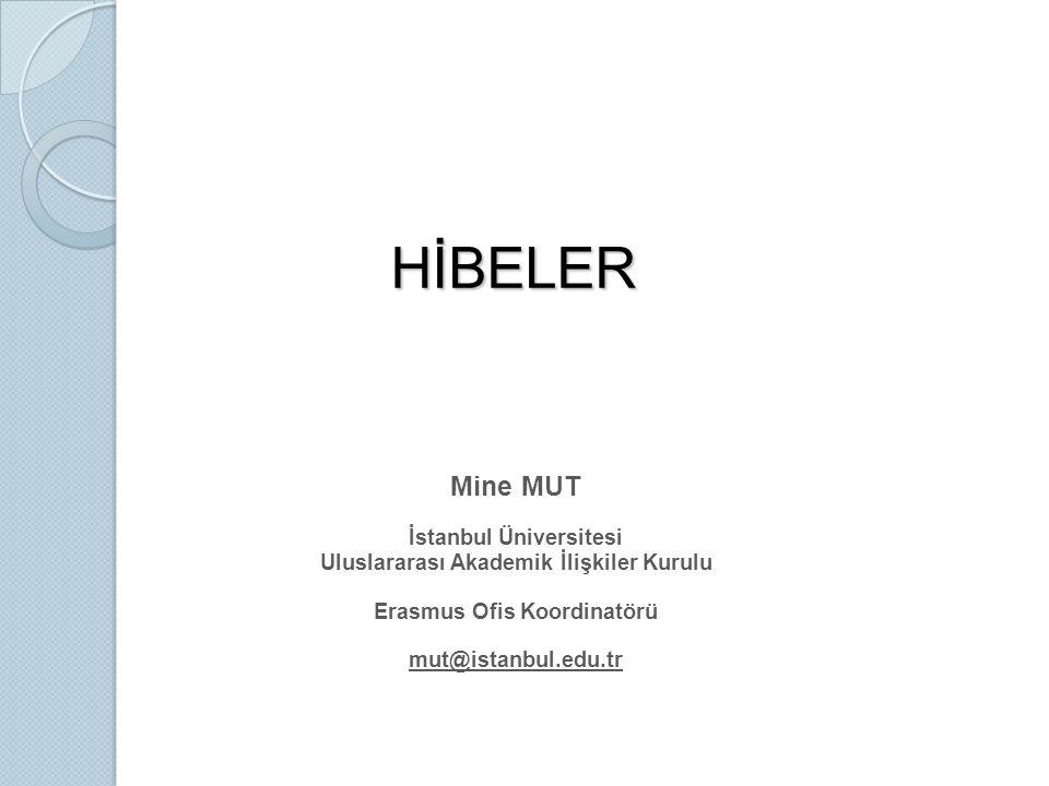 HİBELER Mine MUT İstanbul Üniversitesi Uluslararası Akademik İlişkiler Kurulu Erasmus Ofis Koordinatörü mut@istanbul.edu.tr
