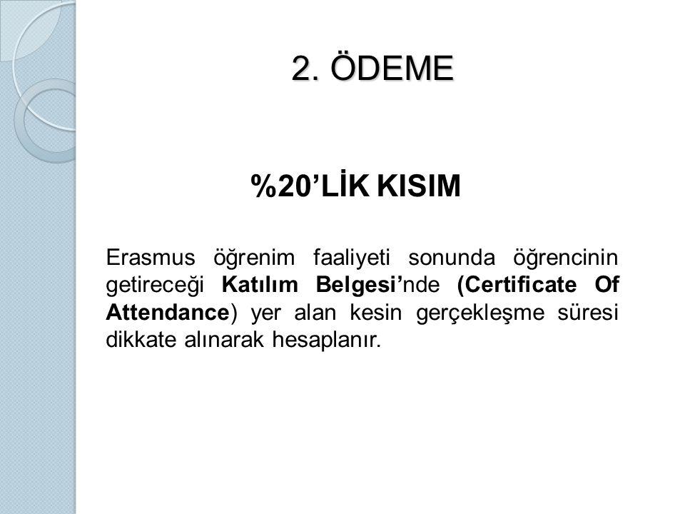 2. ÖDEME 2. ÖDEME %20'LİK KISIM Erasmus öğrenim faaliyeti sonunda öğrencinin getireceği Katılım Belgesi'nde (Certificate Of Attendance) yer alan kesin