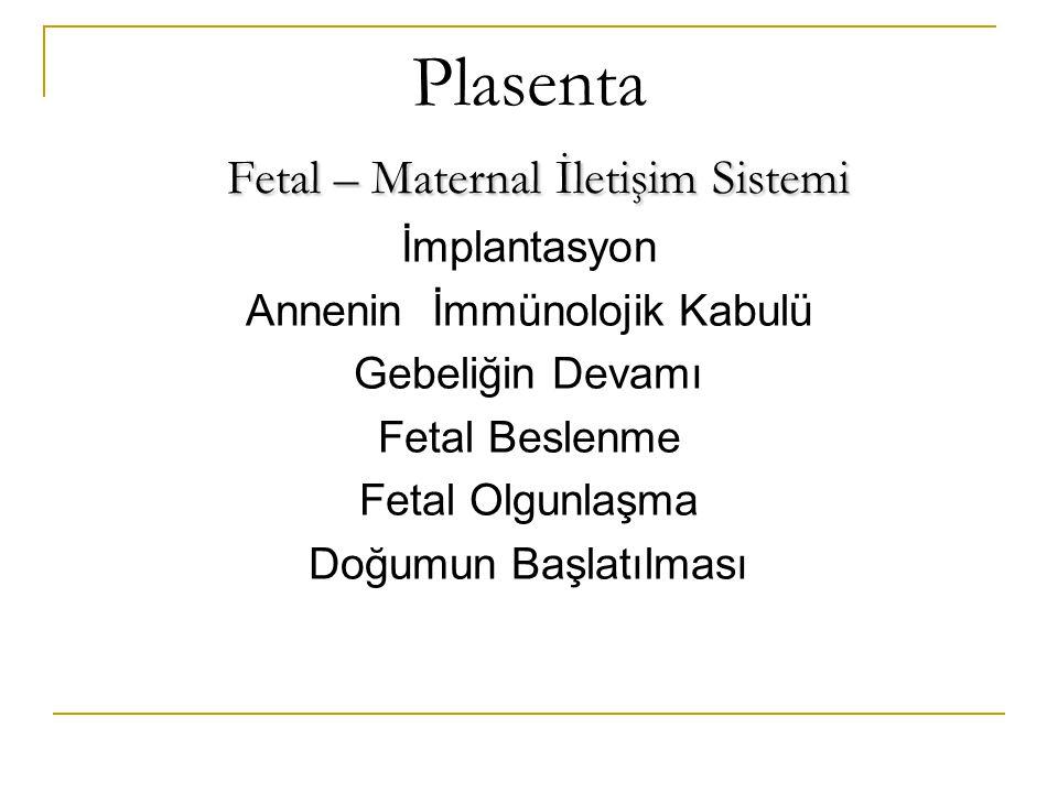Fetal – Maternal İletişim Sistemi Plasenta Fetal – Maternal İletişim Sistemi İmplantasyon Annenin İmmünolojik Kabulü Gebeliğin Devamı Fetal Beslenme F