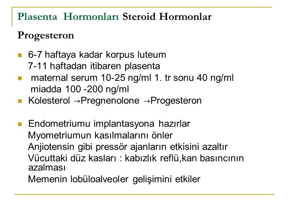 Plasenta Hormonları Steroid Hormonlar Progesteron 6-7 haftaya kadar korpus luteum 7-11 haftadan itibaren plasenta maternal serum 10-25 ng/ml 1. tr son
