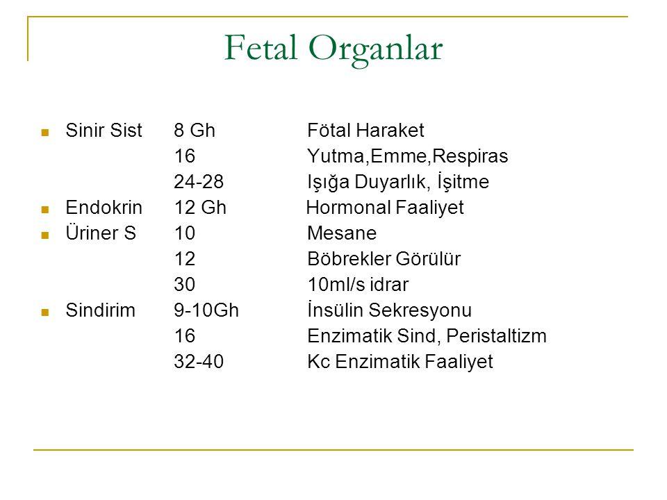 Fetal Organlar Sinir Sist8 GhFötal Haraket 16 Yutma,Emme,Respiras 24-28Işığa Duyarlık, İşitme Endokrin 12 Gh Hormonal Faaliyet Üriner S10Mesane 12Böbr