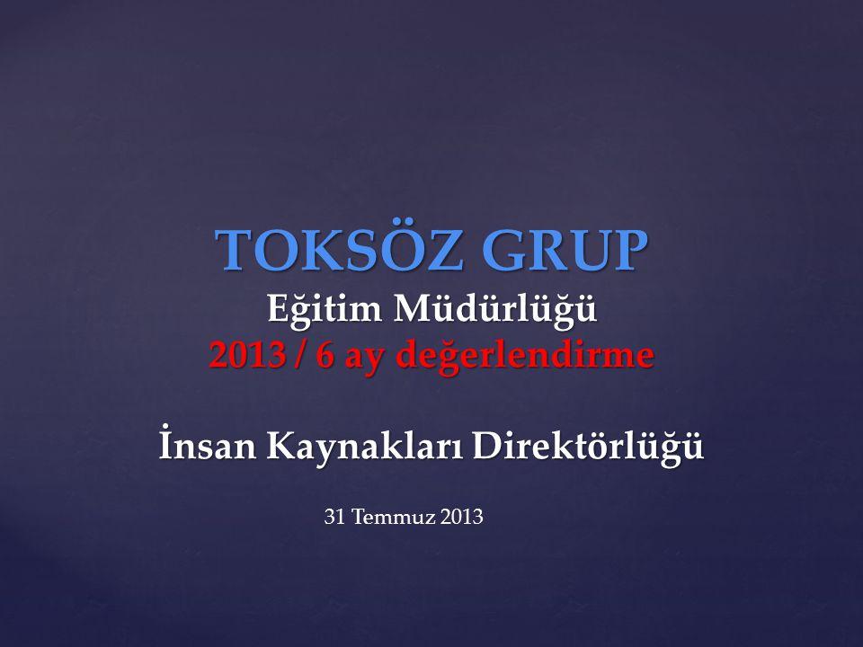 TOKSÖZ GRUP Eğitim Müdürlüğü 2013 / 6 ay değerlendirme İnsan Kaynakları Direktörlüğü 31 Temmuz 2013