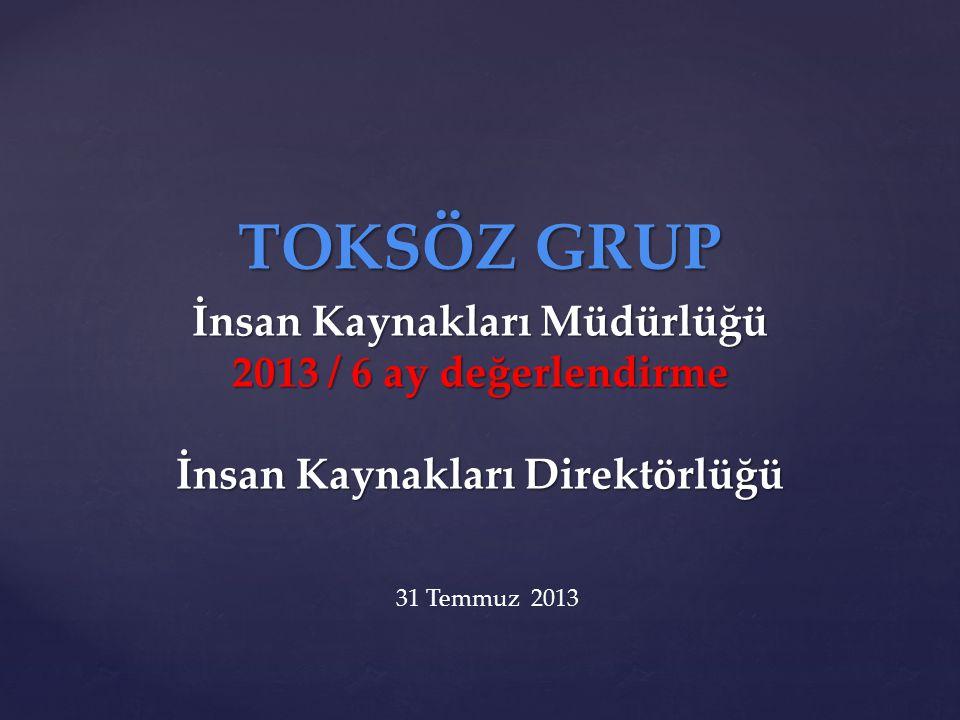 TOKSÖZ GRUP İnsan Kaynakları Müdürlüğü 2013 / 6 ay değerlendirme İnsan Kaynakları Direktörlüğü 31 Temmuz 2013
