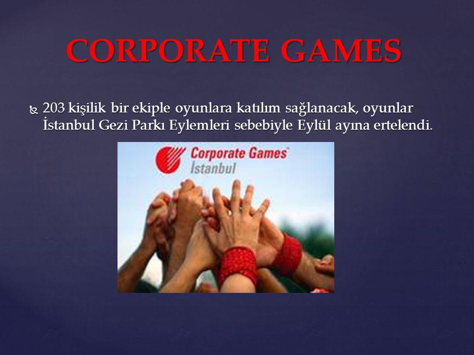  203 kişilik bir ekiple oyunlara katılım sağlanacak, oyunlar İstanbul Gezi Parkı Eylemleri sebebiyle Eylül ayına ertelendi. CORPORATE GAMES