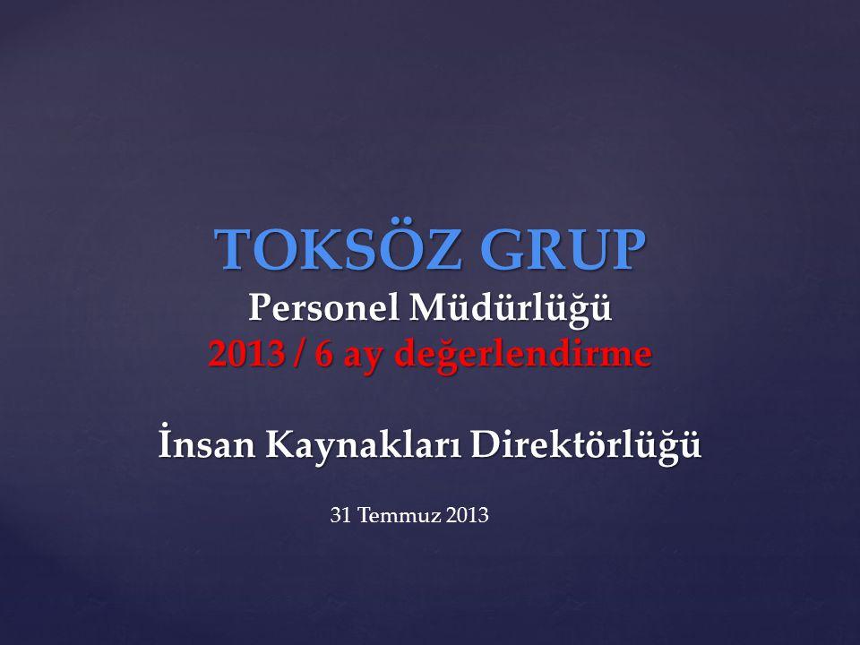 TOKSÖZ GRUP Personel Müdürlüğü 2013 / 6 ay değerlendirme İnsan Kaynakları Direktörlüğü 31 Temmuz 2013