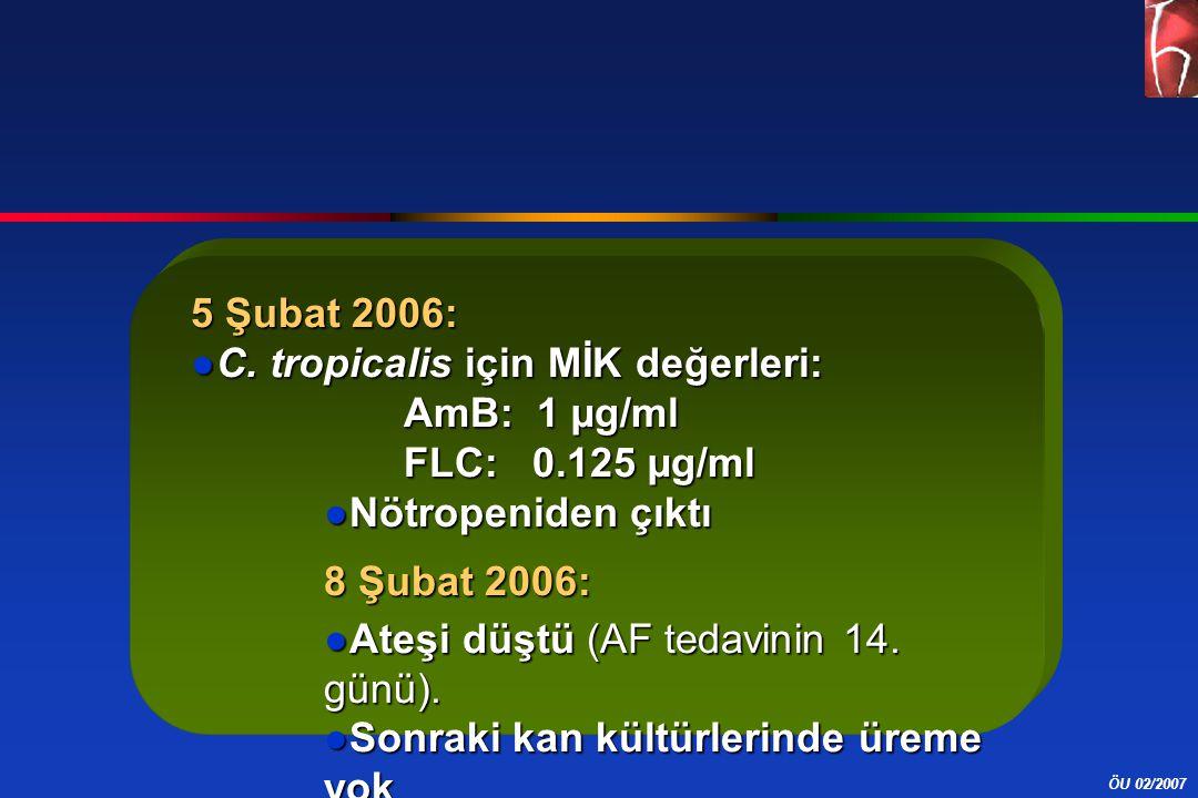 ÖU 02/2007 5 Şubat 2006: ●C. tropicalis için MİK değerleri: AmB: 1 µg/ml FLC: 0.125 µg/ml ●Nötropeniden çıktı 8 Şubat 2006: ●Ateşi düştü (AF tedavinin