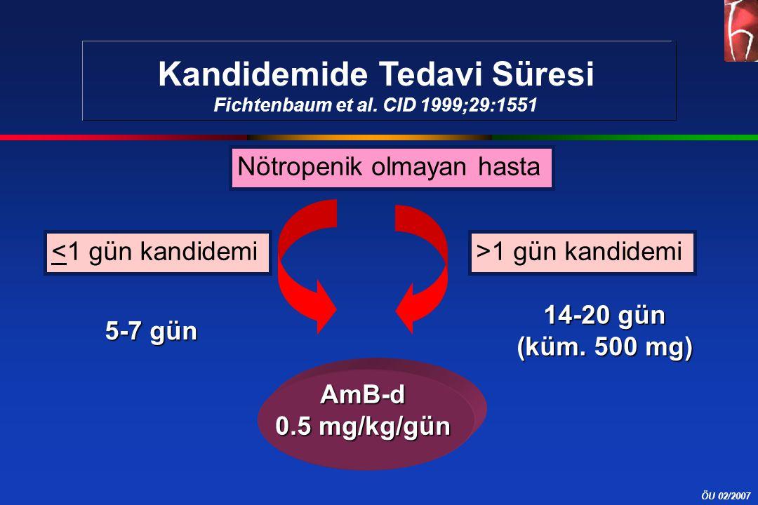 ÖU 02/2007 <1 gün kandidemi>1 gün kandidemi AmB-d 0.5 mg/kg/gün Nötropenik olmayan hasta 5-7 gün 14-20 gün (küm. 500 mg) Kandidemide Tedavi Süresi Fic