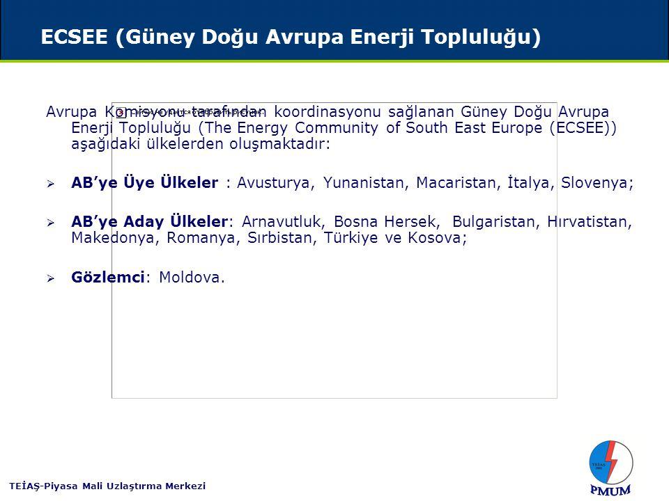 TEİAŞ-Piyasa Mali Uzlaştırma Merkezi ECSEE (Güney Doğu Avrupa Enerji Topluluğu)  Türkiye,  Avrupa Birliği enerji piyasası ile yakından bağlantılı,  Avrupa Birliği içerisindeki yasal çerçeveye tamamen uyumlu,  Güney Doğu Avrupa'daki entegre bölgesel piyasaları oluşturmayı amaçlayan,  Balkanları Hazar denizine ve Orta doğu ile Güney Afrika gaz rezervlerine bağlayacak girişimleri sağlayarak Güney Doğu Avrupa ve Avrupa Birliğinin enerji güvenliğini zenginleştirmeyi hedefleyen  Güney Doğu Avrupa Enerji Topluluğu'nun (ECSEE) bir üyesidir.