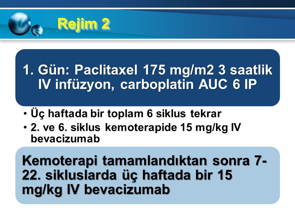Rejim 1 1. Gün: Paclitaxel 175 mg/m2 üç saatlik IV infüzyon, carboplatin AUC 6 IV Üç haftada bir toplam 6 siklus tekrar 2. ve 6. siklus kemoterapide 1