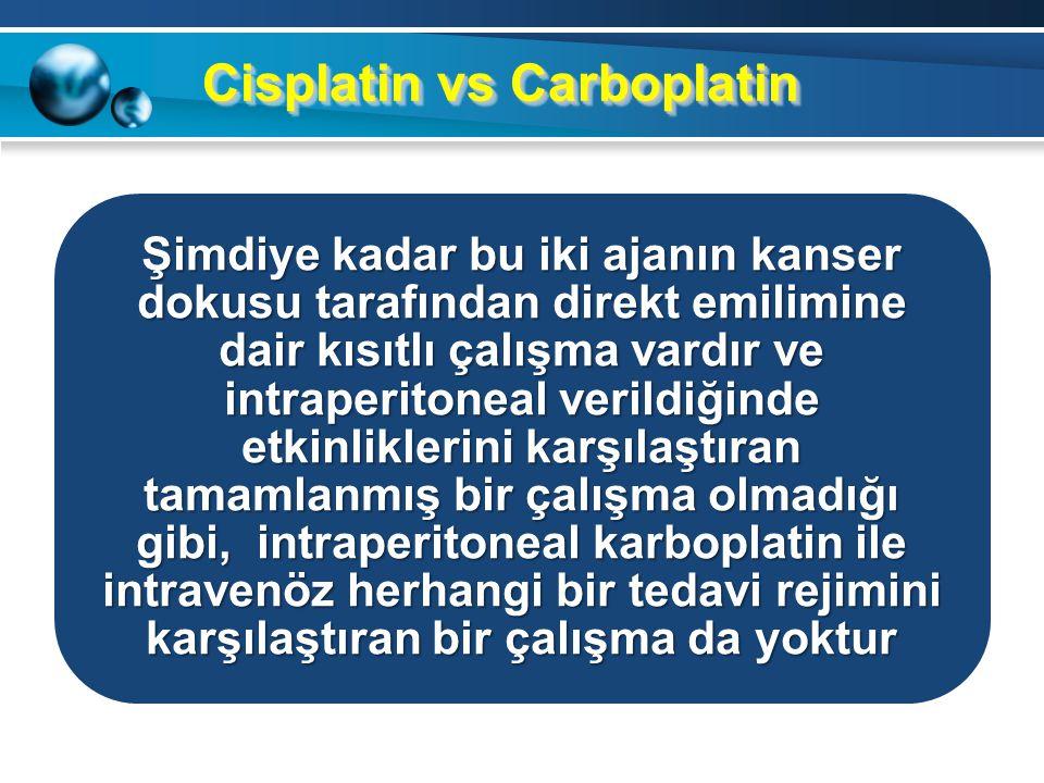 CarboplatinCarboplatin İntraperitoneal carboplatin kullanımının en büyük avantajı, hastaların cisplatine bağlı yan etkiler yüzünden yarıda kestikleri