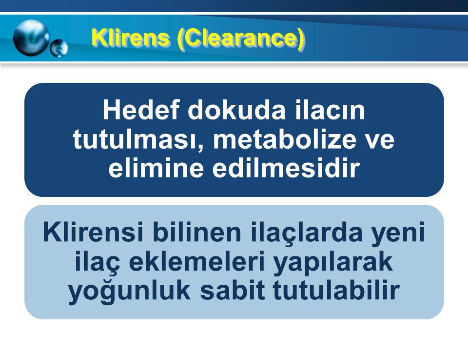 Klirens (Clearance) Hedef dokuda ilacın tutulması, metabolize ve elimine edilmesidir Klirensi bilinen ilaçlarda yeni ilaç eklemeleri yapılarak yoğunluk sabit tutulabilir