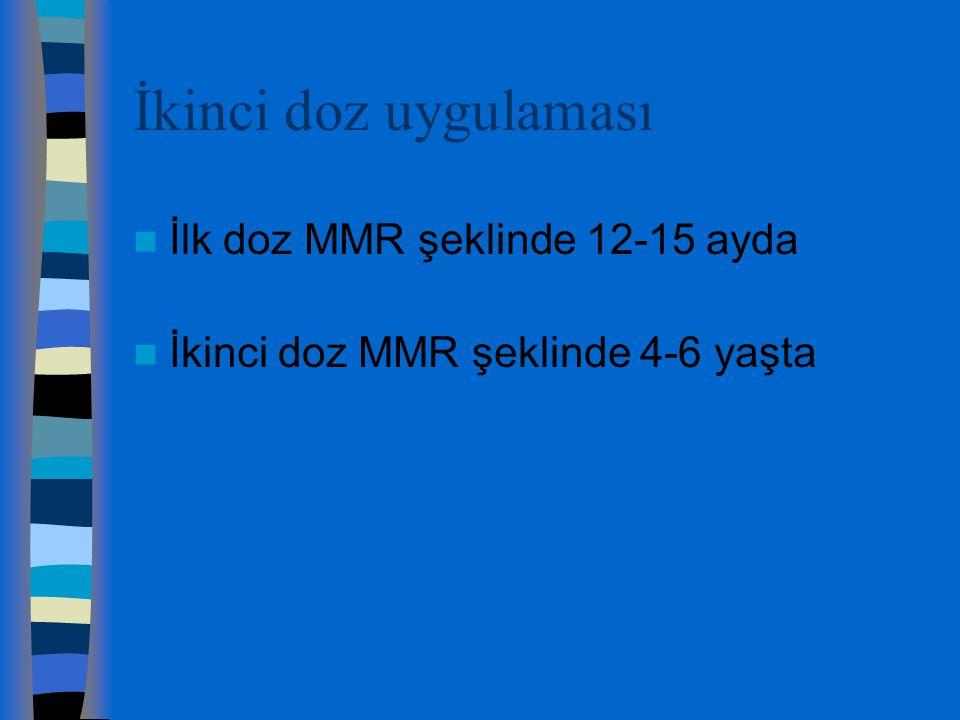 İkinci doz uygulaması İlk doz MMR şeklinde 12-15 ayda İkinci doz MMR şeklinde 4-6 yaşta