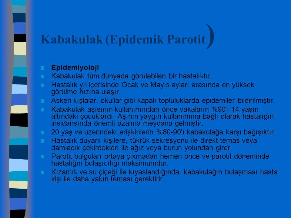 Kabakulak (Epidemik Parotit ) Epidemiyoloji Kabakulak tüm dünyada görülebilen bir hastalıktır. Hastalık yıl içerisinde Ocak ve Mayıs ayları arasında e