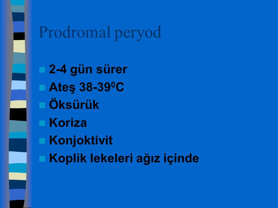 Prodromal peryod 2-4 gün sürer Ateş 38-39 0 C Öksürük Koriza Konjoktivit Koplik lekeleri ağız içinde