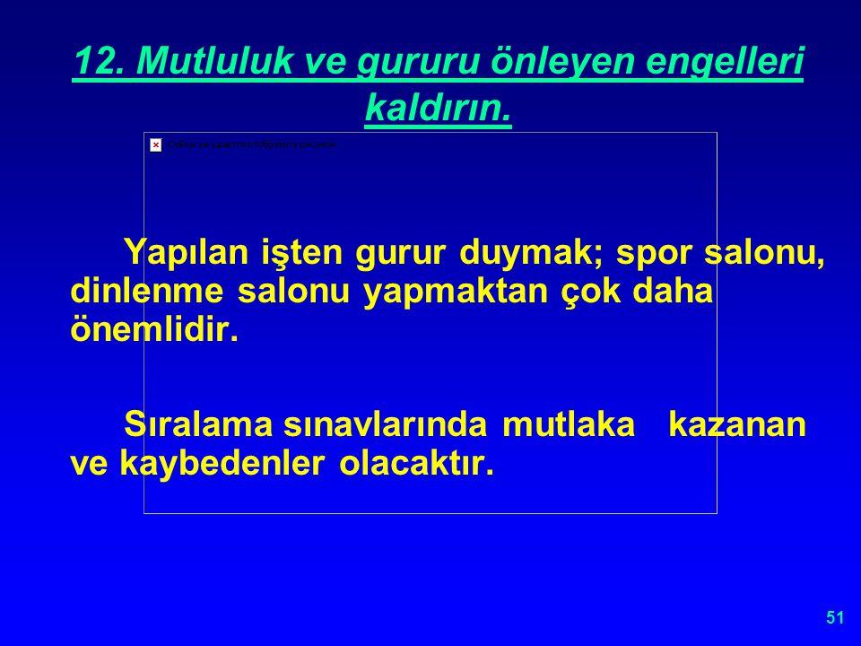 50 12. MUTLULUK VE GURURU ÖNLEYEN ENGELLERİ KALDIRIN.