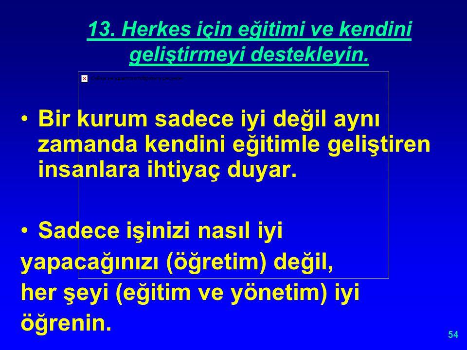 53 13. HERKES İÇİN EĞİTİMİ VE KENDİNİ GELİŞTİRMEYİ DESTEKLEYİN.