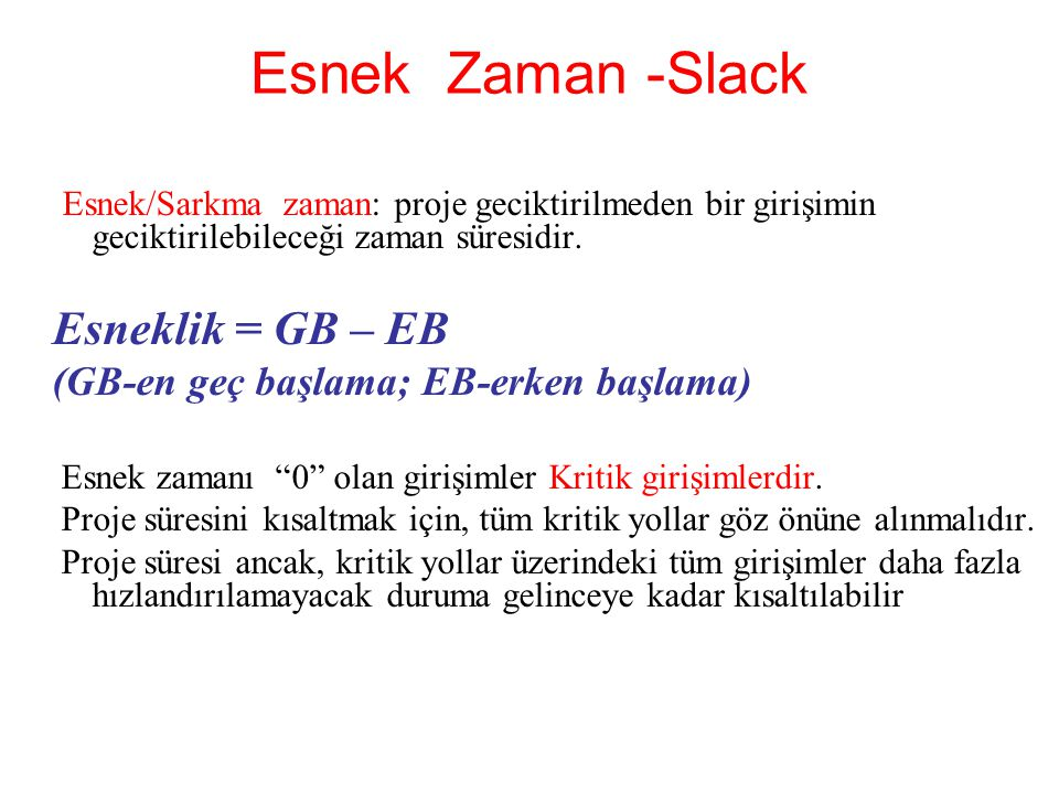Esnek Zaman -Slack Esnek/Sarkma zaman: proje geciktirilmeden bir girişimin geciktirilebileceği zaman süresidir. Esneklik = GB – EB (GB-en geç başlama;
