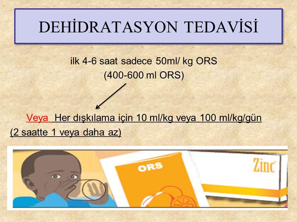 DEHİDRATASYON TEDAVİSİ ilk 4-6 saat sadece 50ml/ kg ORS (400-600 ml ORS) Veya Her dışkılama için 10 ml/kg veya 100 ml/kg/gün (2 saatte 1 veya daha az)
