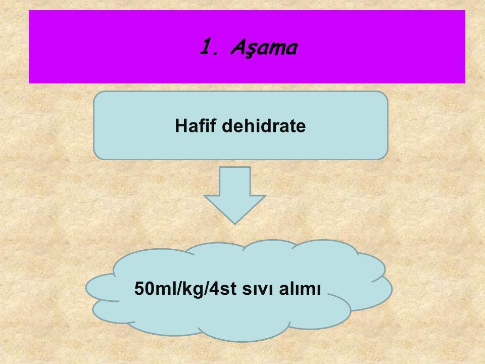 Hafif dehidrate 50ml/kg/4st sıvı alımı 1. Aşama