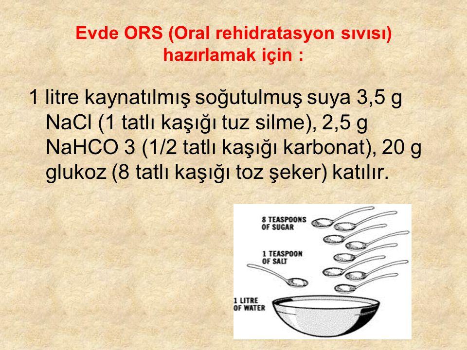 Evde ORS (Oral rehidratasyon sıvısı) hazırlamak için : 1 litre kaynatılmış soğutulmuş suya 3,5 g NaCl (1 tatlı kaşığı tuz silme), 2,5 g NaHCO 3 (1/2 t