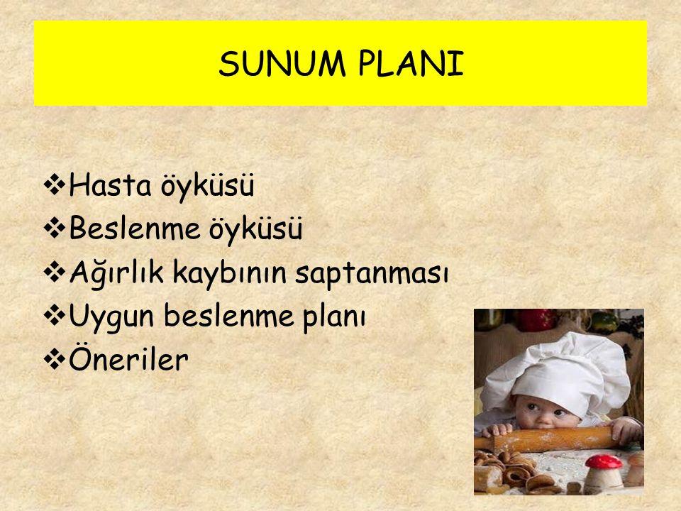 SUNUM PLANI  Hasta öyküsü  Beslenme öyküsü  Ağırlık kaybının saptanması  Uygun beslenme planı  Öneriler