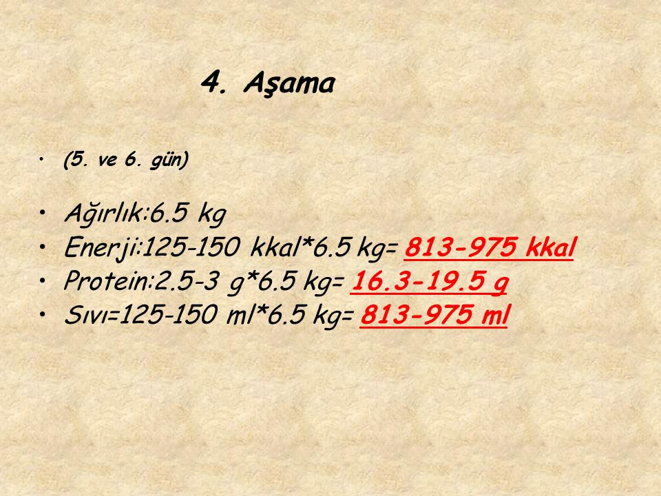 4. Aşama (5. ve 6. gün) Ağırlık:6.5 kg Enerji:125-150 kkal*6.5 kg= 813-975 kkal Protein:2.5-3 g*6.5 kg= 16.3-19.5 g Sıvı=125-150 ml*6.5 kg= 813-975 ml