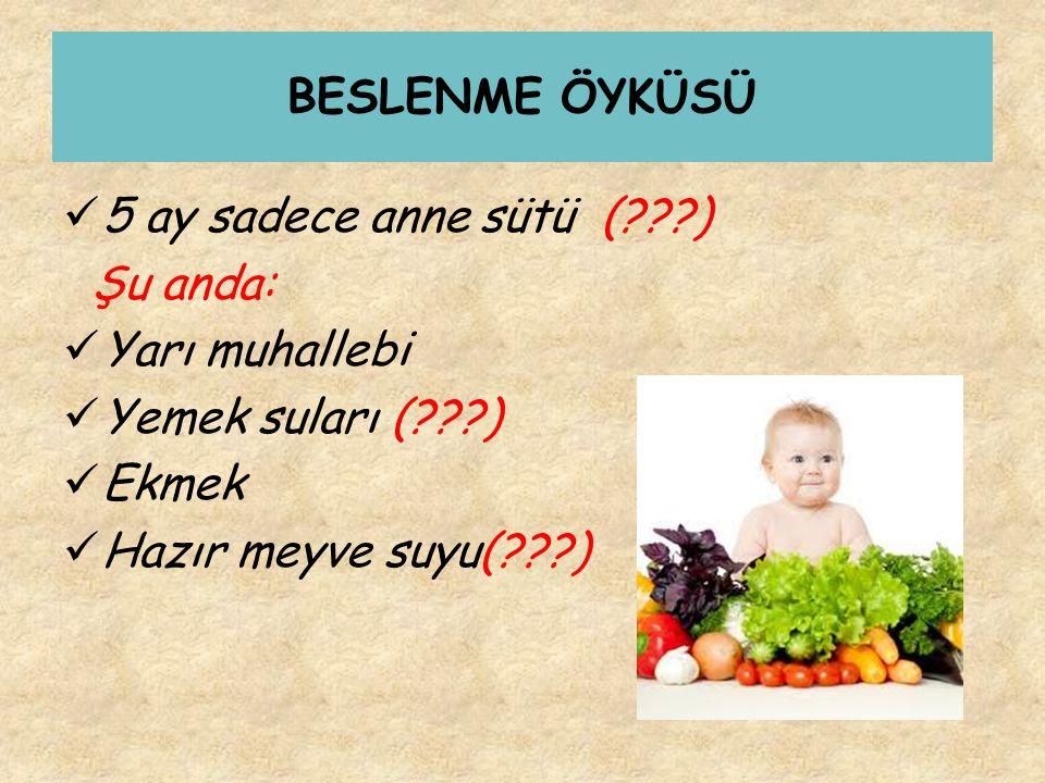 BESLENME ÖYKÜSÜ 5 ay sadece anne sütü (???) Şu anda: Yarı muhallebi Yemek suları (???) Ekmek Hazır meyve suyu(???)
