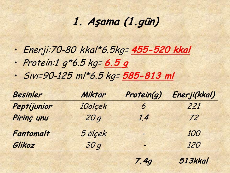 1. Aşama (1.gün) Enerji:70-80 kkal*6.5kg= 455-520 kkal Protein:1 g*6.5 kg= 6.5 g Sıvı=90-125 ml*6.5 kg= 585-813 ml BesinlerMiktarProtein(g)Enerji(kkal