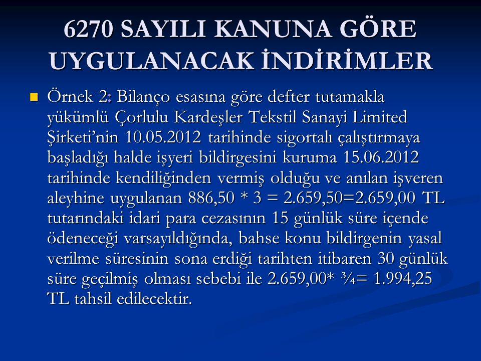 6270 SAYILI KANUNA GÖRE UYGULANACAK İNDİRİMLER Örnek 2: Bilanço esasına göre defter tutamakla yükümlü Çorlulu Kardeşler Tekstil Sanayi Limited Şirketi