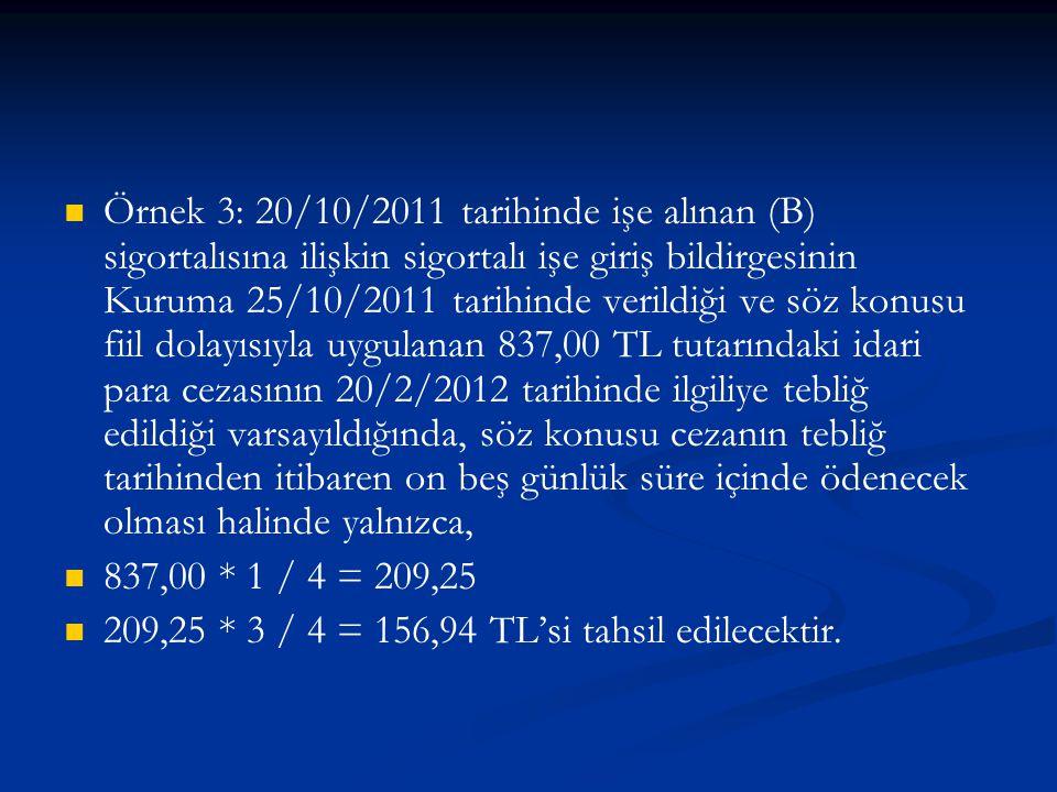 Örnek 3: 20/10/2011 tarihinde işe alınan (B) sigortalısına ilişkin sigortalı işe giriş bildirgesinin Kuruma 25/10/2011 tarihinde verildiği ve söz konu