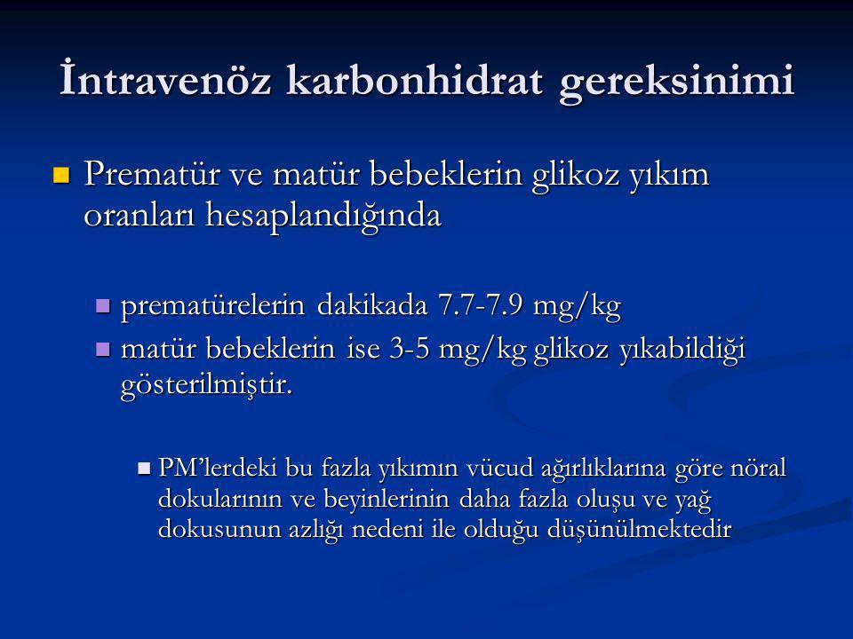 İntravenöz karbonhidrat gereksinimi Prematür ve matür bebeklerin glikoz yıkım oranları hesaplandığında Prematür ve matür bebeklerin glikoz yıkım oranları hesaplandığında prematürelerin dakikada 7.7-7.9 mg/kg prematürelerin dakikada 7.7-7.9 mg/kg matür bebeklerin ise 3-5 mg/kg glikoz yıkabildiği gösterilmiştir.