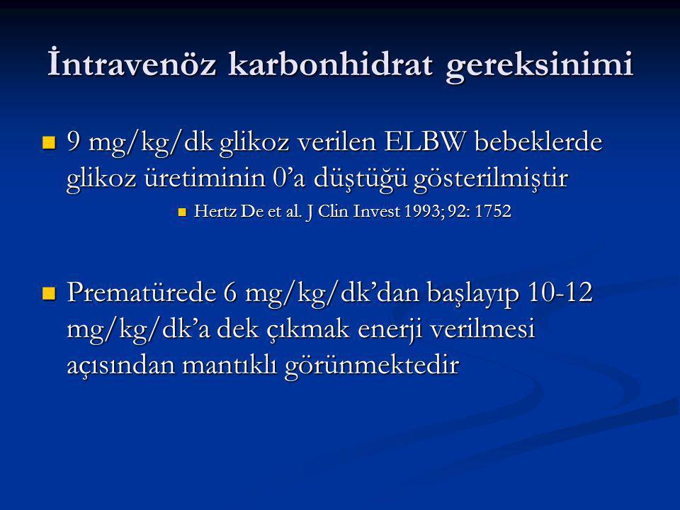 İntravenöz karbonhidrat gereksinimi 9 mg/kg/dk glikoz verilen ELBW bebeklerde glikoz üretiminin 0'a düştüğü gösterilmiştir 9 mg/kg/dk glikoz verilen ELBW bebeklerde glikoz üretiminin 0'a düştüğü gösterilmiştir Hertz De et al.