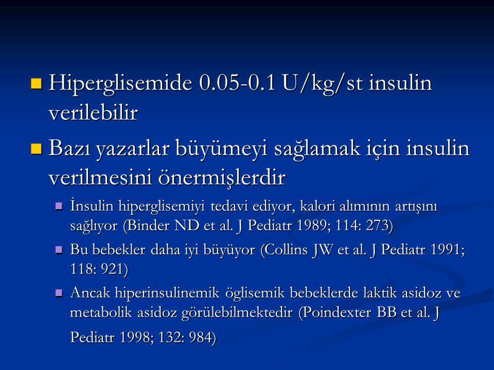 Hiperglisemide 0.05-0.1 U/kg/st insulin verilebilir Hiperglisemide 0.05-0.1 U/kg/st insulin verilebilir Bazı yazarlar büyümeyi sağlamak için insulin verilmesini önermişlerdir Bazı yazarlar büyümeyi sağlamak için insulin verilmesini önermişlerdir İnsulin hiperglisemiyi tedavi ediyor, kalori alımının artışını sağlıyor (Binder ND et al.