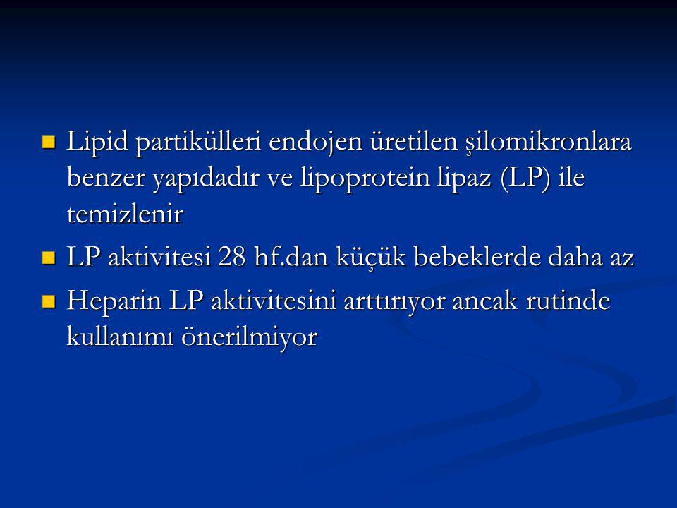 Lipid partikülleri endojen üretilen şilomikronlara benzer yapıdadır ve lipoprotein lipaz (LP) ile temizlenir Lipid partikülleri endojen üretilen şilomikronlara benzer yapıdadır ve lipoprotein lipaz (LP) ile temizlenir LP aktivitesi 28 hf.dan küçük bebeklerde daha az LP aktivitesi 28 hf.dan küçük bebeklerde daha az Heparin LP aktivitesini arttırıyor ancak rutinde kullanımı önerilmiyor Heparin LP aktivitesini arttırıyor ancak rutinde kullanımı önerilmiyor