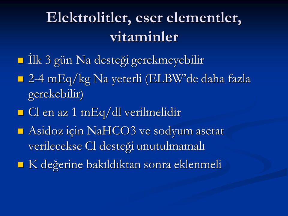 Elektrolitler, eser elementler, vitaminler İlk 3 gün Na desteği gerekmeyebilir İlk 3 gün Na desteği gerekmeyebilir 2-4 mEq/kg Na yeterli (ELBW'de daha fazla gerekebilir) 2-4 mEq/kg Na yeterli (ELBW'de daha fazla gerekebilir) Cl en az 1 mEq/dl verilmelidir Cl en az 1 mEq/dl verilmelidir Asidoz için NaHCO3 ve sodyum asetat verilecekse Cl desteği unutulmamalı Asidoz için NaHCO3 ve sodyum asetat verilecekse Cl desteği unutulmamalı K değerine bakıldıktan sonra eklenmeli K değerine bakıldıktan sonra eklenmeli