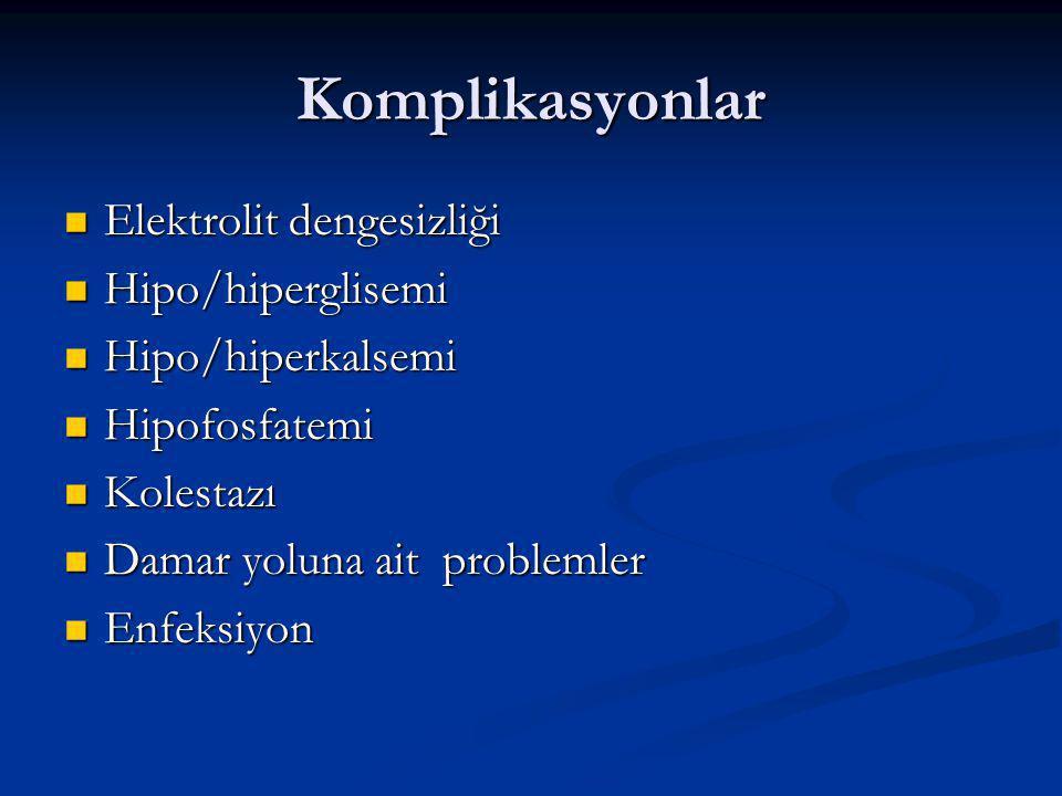 Komplikasyonlar Elektrolit dengesizliği Elektrolit dengesizliği Hipo/hiperglisemi Hipo/hiperglisemi Hipo/hiperkalsemi Hipo/hiperkalsemi Hipofosfatemi Hipofosfatemi Kolestazı Kolestazı Damar yoluna ait problemler Damar yoluna ait problemler Enfeksiyon Enfeksiyon