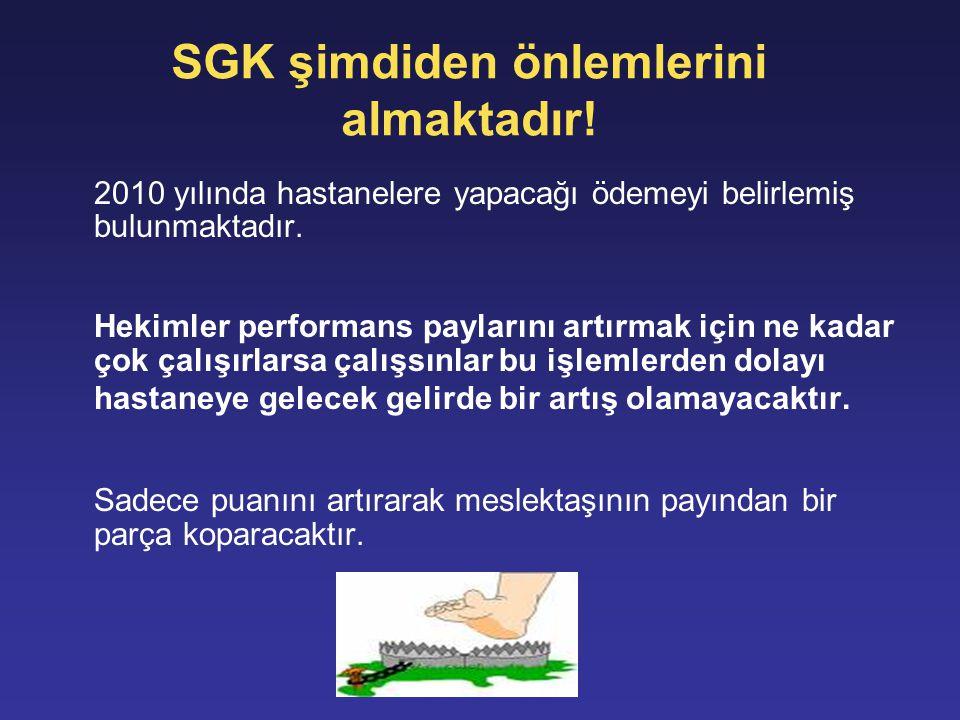 SGK şimdiden önlemlerini almaktadır! 2010 yılında hastanelere yapacağı ödemeyi belirlemiş bulunmaktadır. Hekimler performans paylarını artırmak için n