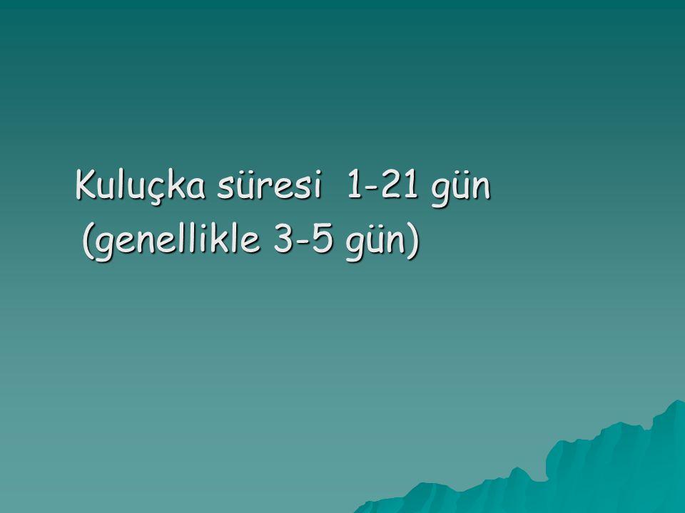 Kuluçka süresi 1-21 gün (genellikle 3-5 gün) (genellikle 3-5 gün)
