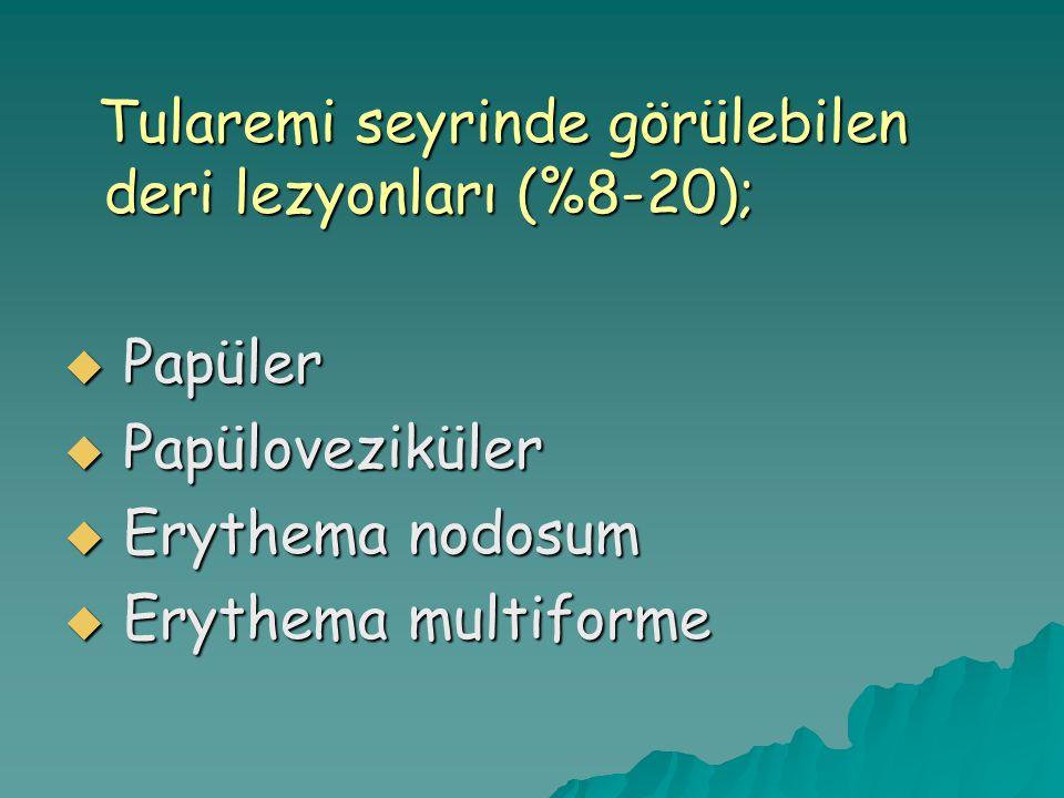 Tularemi seyrinde görülebilen deri lezyonları (%8-20); Tularemi seyrinde görülebilen deri lezyonları (%8-20);  Papüler  Papüloveziküler  Erythema nodosum  Erythema multiforme