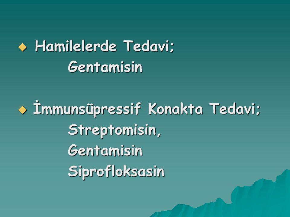  Hamilelerde Tedavi; Gentamisin Gentamisin  İmmunsüpressif Konakta Tedavi; Streptomisin, Streptomisin, Gentamisin Gentamisin Siprofloksasin Siprofloksasin