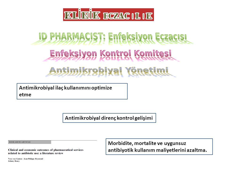 Antimikrobiyal ilaç kullanımını optimize etme Antimikrobiyal direnç kontrol gelişimi Morbidite, mortalite ve uygunsuz antibiyotik kullanım maliyetleri