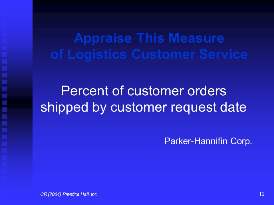 11 Appraise This Measure of Logistics Customer Service Percent of customer orders shipped by customer request date Parker-Hannifin Corp. CR (2004) Pre