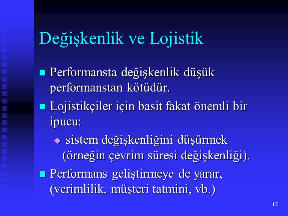 17 Değişkenlik ve Lojistik Performansta değişkenlik düşük performanstan kötüdür. Performansta değişkenlik düşük performanstan kötüdür. Lojistikçiler i